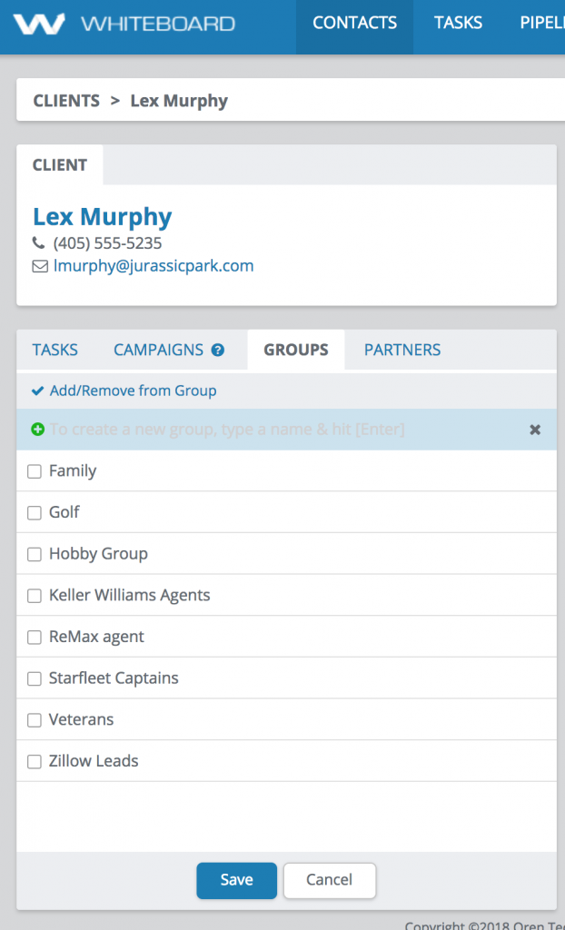 Create a Group - contact details view list of groups
