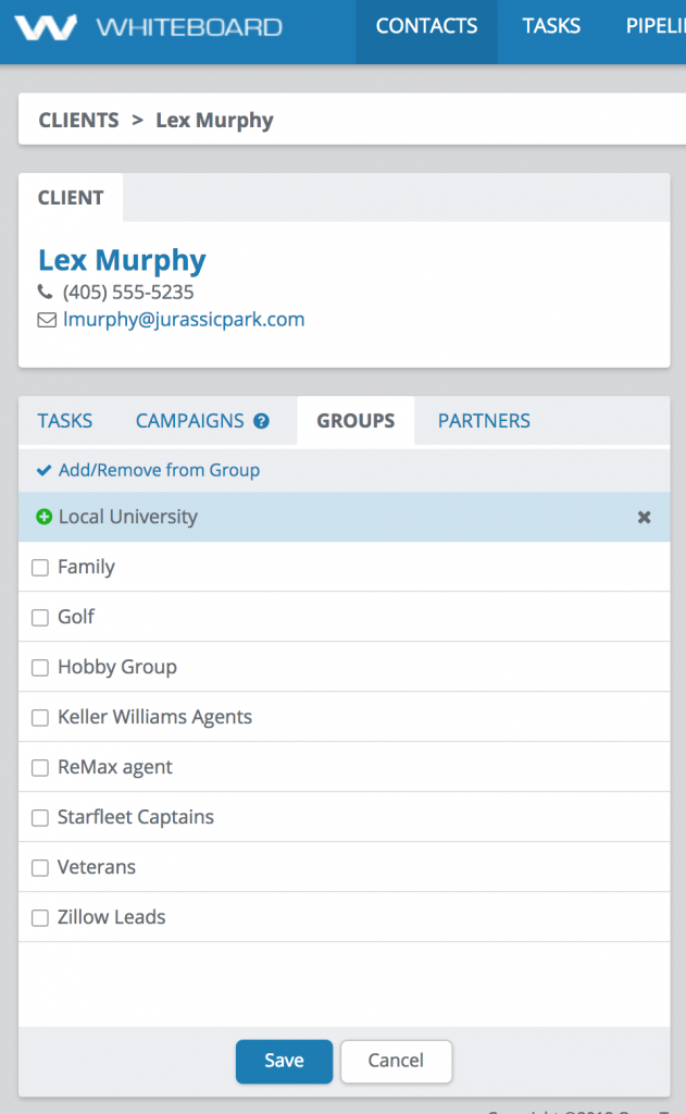 Creating a group from the contact details screen