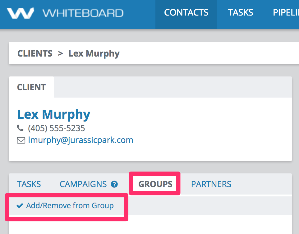 Create group contacts view start