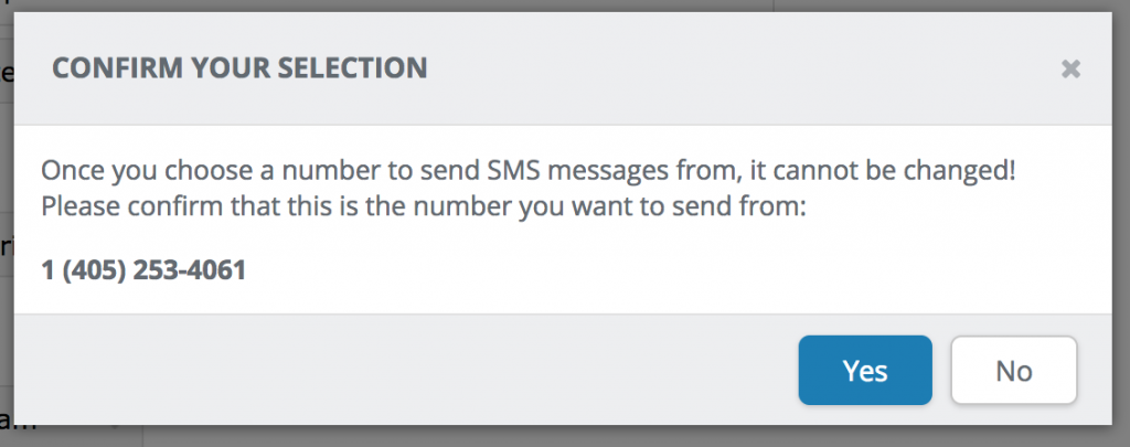 Texting Setup Confirm Number Selection
